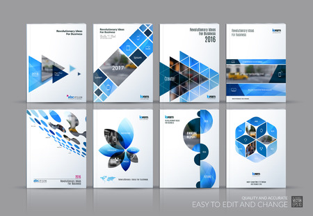 Business set. Brochure template layout, cover design annual report, magazine, in A4 with blue flying triangles, square, circles, flower, polygons for science, teamwork. Abstract