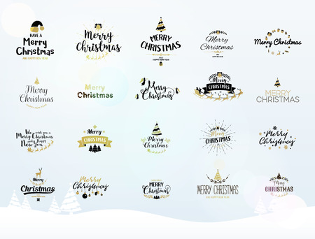 the inscription: Merry Christmas lettering typography. Handwriting text design with winter holidays calligraphy, icons, symbols, signs. Happy New Year greeting card decoration on blue background. Abstract vector set. Illustration