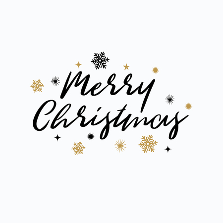 Merry Christmas lettering typography. Handwriting text design with winter holidays gold icons, symbols, signs. Happy New Year greeting card decoration on white background. Abstract vector Illustration