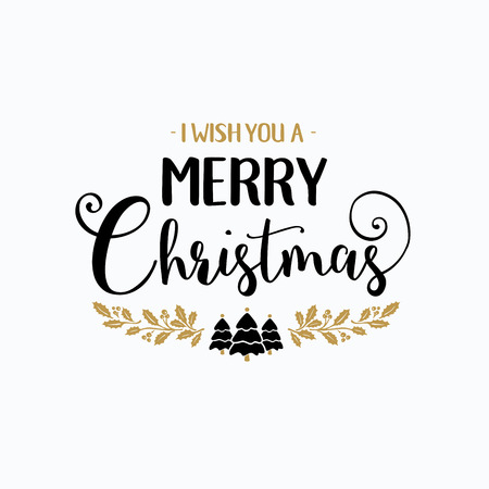 the inscription: Merry Christmas lettering typography. Handwriting text design with winter holidays gold icons, symbols, signs. Happy New Year greeting card decoration on white background. Abstract vector Illustration