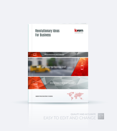 Brochure template layout collection, cover design annual report, magazine, flyer in A4  with red grey banners and diagonals for business, building, consulting. Abstract vector design.