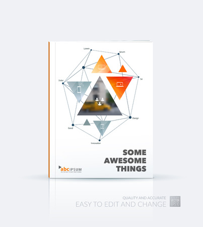 Business vector. Brochure template layout, cover design annual report, flyer in A4 with yellow triangular shapes, triangles, polygons, mesh for travel, connections, teamwork. Abstract design.