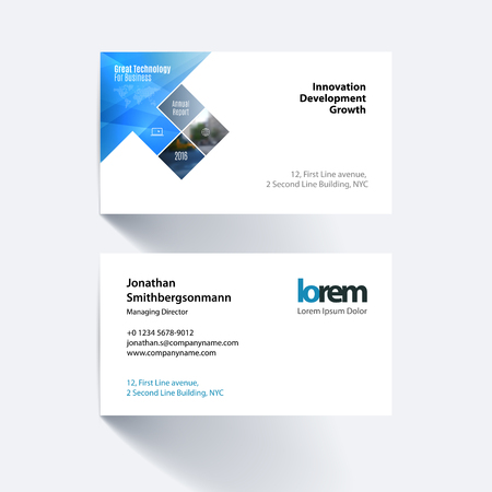 Vector Business Card Template With Blue Rectangles Squares