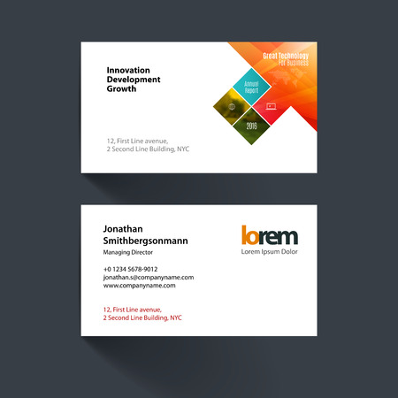 Vector Business Card Template With Orange Rectangles Squares