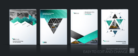 Business vector set. Brochure template layout, cover design annual report, magazine, flyer in A4 with turquoise geometric shapes, squares, triangles, arrows for IT, business, building. Abstract Vetores