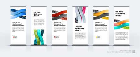 Abstract business vector set of modern roll Up Banner stand design template with wave, soft shapes for exhibition, fair, show, exposition, expo, presentation, festival, parade, events.
