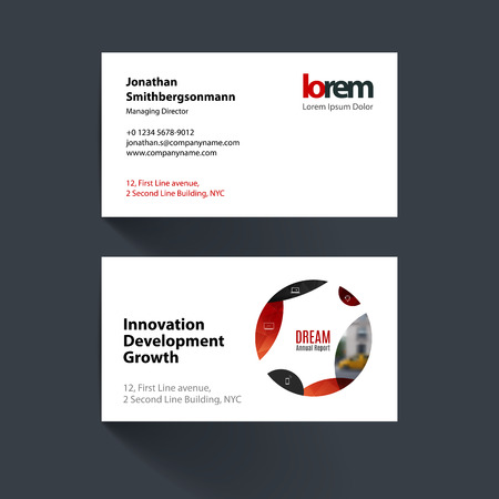 Vector business card template with red circle soft shapes round vector business card template with red circle soft shapes round for it business accmission Gallery