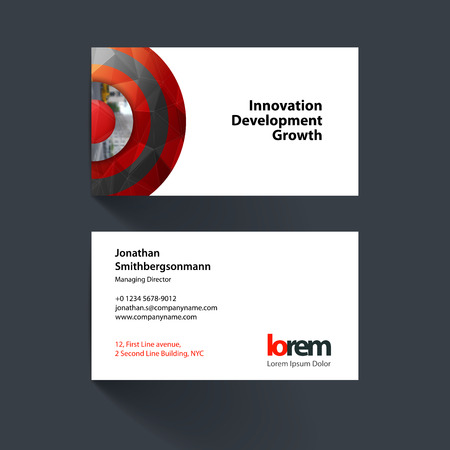 Vector Business Card Template With Red Half Target Rainbow