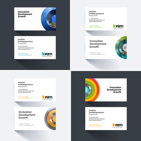 colurful: Vector business card template with colurful half target, rainbow, circles, rounds for IT, business, beauty. Simple and clean design. Creative corporate identity layout set. Illustration