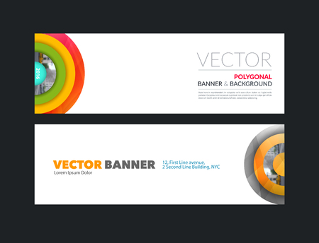 colurful: Vector set of modern horizontal website banners with colurful half target, rainbow, circles, rounds for IT, business, building, network, communication.  Clean web headers design.