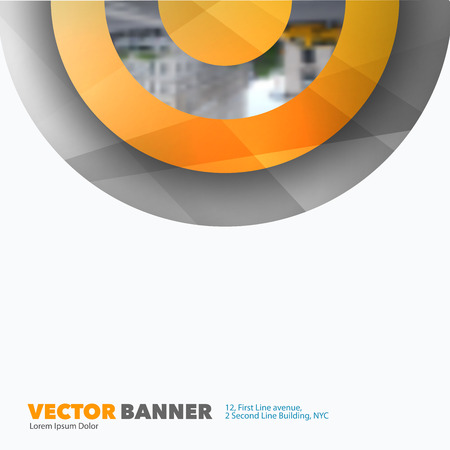 rounds: Business vector design elements for graphic layout. Modern abstract background template with yellow half target, rainbow, circles, rounds for IT, business, building in clean minimal style.