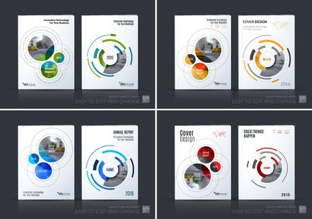 Zakelijke vector set. Brochure sjabloon lay-out, cover ontwerp jaarverslag, tijdschrift, flyer in A4 met rondes, cirkels, zachte lijnen voor IT, business, technologie. Abstracte kunst. Stock Illustratie
