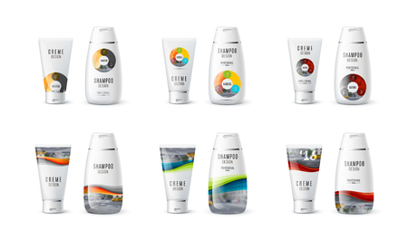 cosmetic product: Abstract body care cosmetic brand concept. Cream, shampoo packaging. Realistic identity set template with colourful circle round diagram for beauty, medicine, healthcare. Design layout. Illustration