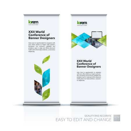 plant stand: Business vector set of modern roll Up Banner stand design template with green abstract plant for business, industry, eco for exhibition, show, exposition, expo, presentation, parade, events.