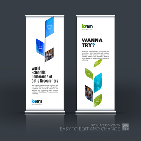 plant stand: Business vector set of modern roll Up Banner stand design template with blue abstract plant for business, industry, eco for exhibition, show, exposition, expo, presentation, parade, events.