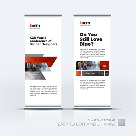 Abstract business set of modern roll Up Banner stand design template with many red rectangles, stripes for exhibition, show, exposition, expo, presentation, parade, events.