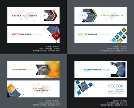 global communication: Abstract vector set of modern horizontal website banners with co