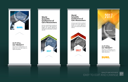 blank screen: Abstract business vector set of modern roll Up Banner stand desi