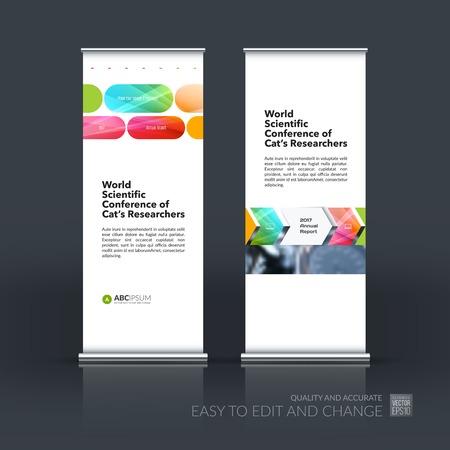 aluminium: Abstract business vector set of modern roll Up Banner stand desi