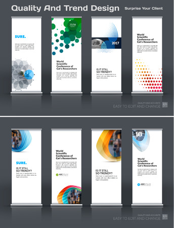 Abstract business vector set of modern roll Up Banner stand design template with colourful rounds, circles, dots for eco, market, exhibition, show, expo, presentation, parade, events. 向量圖像