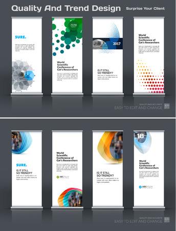 Conjunto de vetores de negócios abstratos de rolo moderno Modelo de design de stand Banner com rodadas coloridas, círculos, pontos para eco, mercado, exposição, show, exposição, apresentação, desfile, eventos.