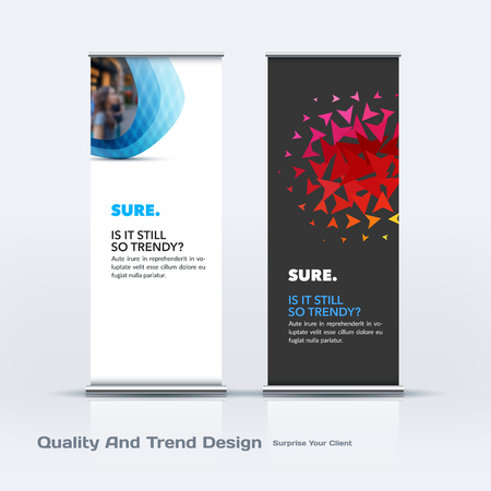 adverts: Abstract business vector set of modern roll Up Banner stand design template with colourful soft, pebble shapes for eco, market, exhibition, show, expo, presentation, parade, events. Illustration