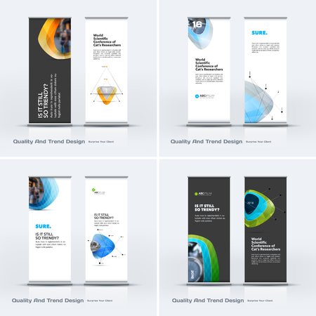 Abstract business vector set of modern roll Up Banner stand design template with colourful soft, pebble shapes for eco, market, exhibition, show, expo, presentation, parade, events.