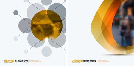 rounds: Abstract vector design elements for graphic layout. Modern business background template with yellow rounds, circles, dots  for tech, pharmacy, health, ecology. Illustration
