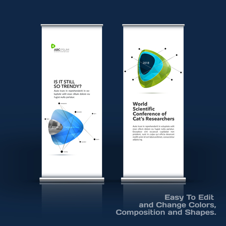 Abstract business vector set of modern roll Up Banner stand design template with colourful soft triangular shapes for tech, market, exhibition, show, expo, presentation, parade, events.