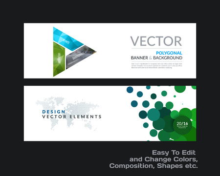 petal: Abstract vector set of modern horizontal website banners with colourful triangle