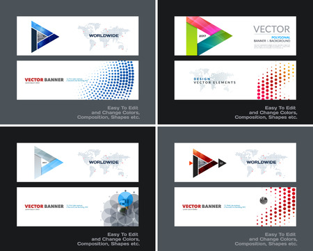 mesh: Abstract vector set of modern horizontal website banners with colourful triangle