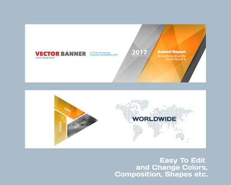 Abstract vector set of modern horizontal website banners with colourful diagonal triangular shapes