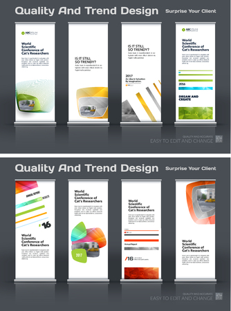 Abstract business vector set of modern roll Up Banner stand design template with colourful soft, rounded shapes