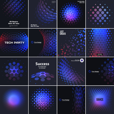 Abstract design elements for graphic layout. Modern business template with colourful red blue purple rounds circles for fun, decoration, party, celebration anniversary on black . Set