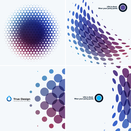 rounds: Abstract vector design elements for graphic layout. Modern business template with colourful red blue purple rounds circles for night club, party, celebration, birthday on white background. Set