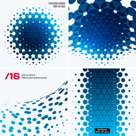 rounds: Set of Abstract vector blue design rounds Illustration