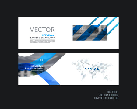 rectangle: Abstract vector set of modern horizontal website banners with many blue rectangles, abstract lines for construction, teamwork, tech, communication. Clean web headers design with overlay effect. Illustration