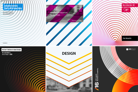 Different set of abstract background for graphic design, book cover template, business brochure, website template design.