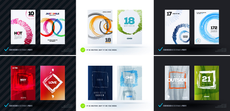 Set of abstract design vector, template cover, poster, flyer.