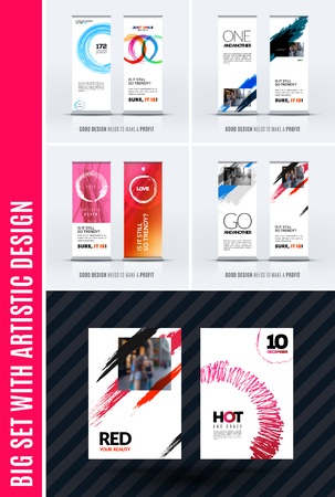 Business Vector Set Of Modern Roll Up Banner Stand Design With Delectable Artistic Displays Banner Stands