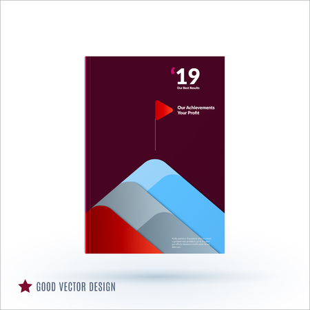 Design of brochure, abstract annual report, cover modern layout, flyer in A4 with trendy maroon red blue elements, shapes for business printing, advertisement. Vector flat style template 2018.
