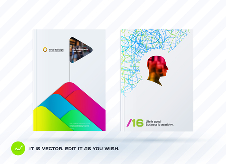 Set of design of brochure, abstract annual report, cover modern layout, flyer in A4 with trend colourful elements, shapes for business printing. Business vector collection. Illustration
