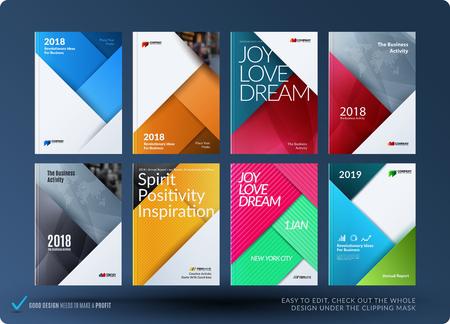 Progettazione materiale del set di brochure, relazione annuale astratta, copertina orizzontale
