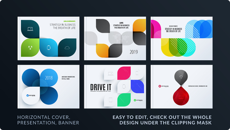 Presentation. Abstract vector set of modern horizontal templates with colourful wave rounded shapes for business, teamwork, tech, ecology. Clean web headers design collection. Stock Vector - 97129240