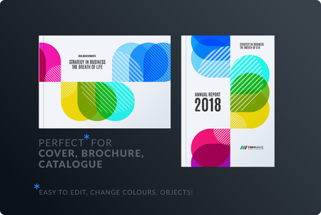 Creative design of brochure set, abstract annual report, horizontal cover layout, flyer in A4 with vector colourful rounded shape for ecology, branding. Business vector presentation.