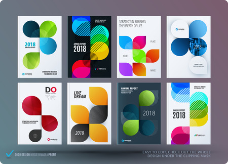 Set of design brochure, abstract annual report, horizontal cover layout, flyer in A4 with vector colourful rounded shape for promotion, advertisement. Business vector presentation.