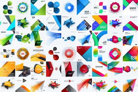 Set of abstract vector design for graphic template. Creative modern business background with geometric shapes. Иллюстрация