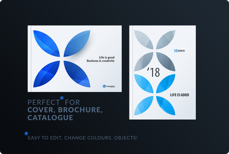 Creative design of brochure set, abstract annual report, horizontal cover, flyer in A4 Illustration