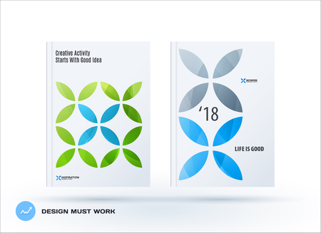 Business set of design brochure, abstract annual report, horizontal cover flyer in A4 Vettoriali