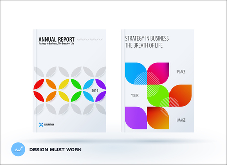 Business set of design brochure, abstract annual report, horizontal cover flyer in A4 Illustration